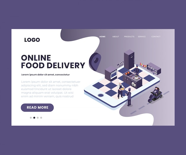 Isometrische illustratie van online eten bestellen