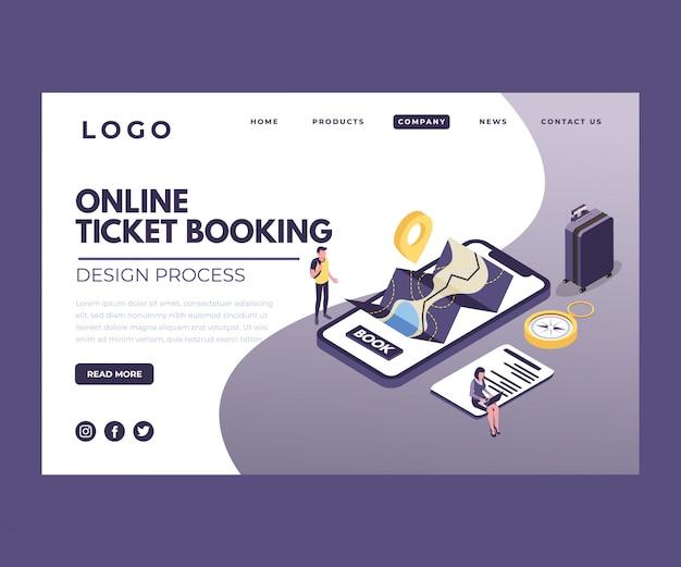 Isometrische illustratie van online ticketboekingen voor reizen