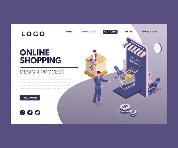 Isometrische illustratie van online winkelen via mobiel
