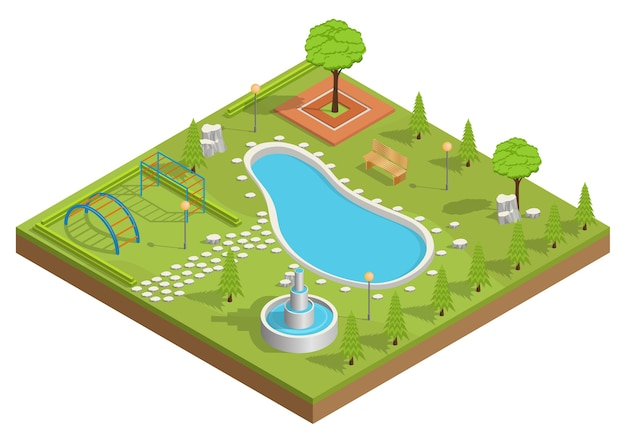 Isometrische illustratie van park met zwembad en speeltuin.
