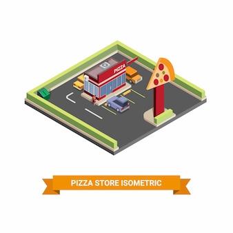 Isometrische illustratie van pizzawinkel met drive-thru, auto, pictogram, symbool, fast food, illustratie