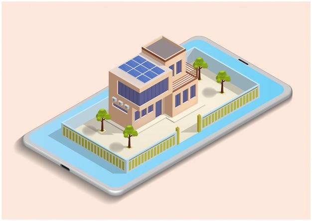 Isometrische illustratie van slimme huis