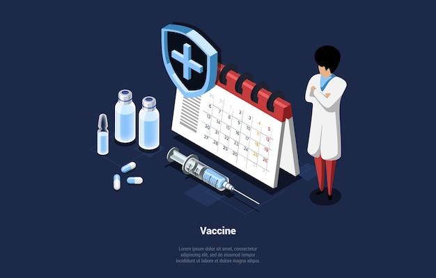 Isometrische illustratie van vaccinconcept