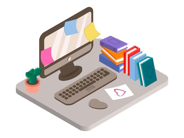 Isometrische illustratie van werkplek met desktopcomputerboeken en cactus