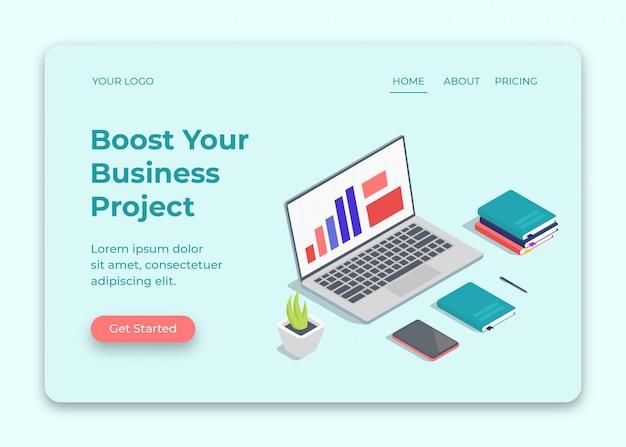 Isometrische illustratie van zakelijk project met boek en laptop