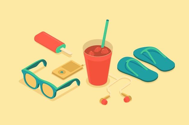 Isometrische illustratie van zomertijd objecten