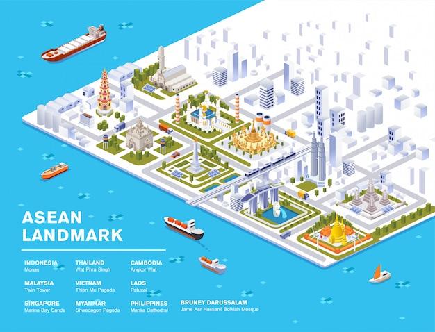Isometrische illustratie van zuidoost-azië beroemde bezienswaardigheid met sky view city