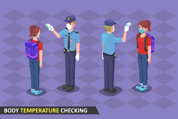 Isometrische illustratie, veiligheidscontrole van de lichaamstemperatuur met thermogun