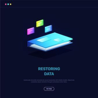 Isometrische illustratie voor het herstellen van gegevens