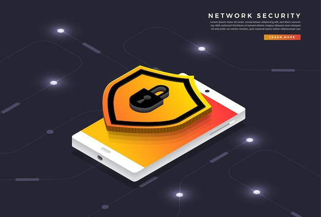 Isometrische illustraties ontwerpconcept mobiele technologie oplossing cyberbeveiliging en apparaat