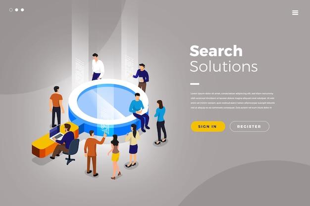 Isometrische illustraties ontwerpconcept teamwerk zakelijke oplossing werken met objectzoekmachine