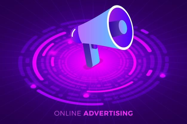 Isometrische illustraties ontwerpconcept technologieoplossing bovenop met digitale reclame