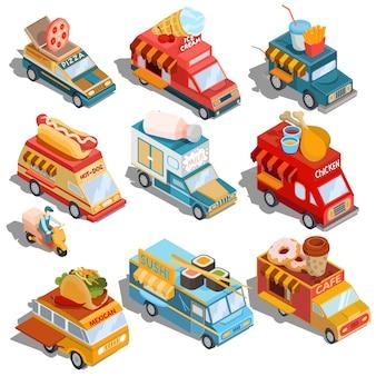 Isometrische illustraties van auto's snelle levering van voedsel- en voedselwagens