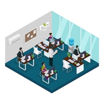 Isometrische indiase support service center-sjabloon