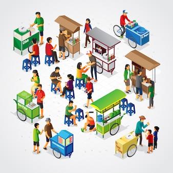 Isometrische indonesische straatvoedselkraam