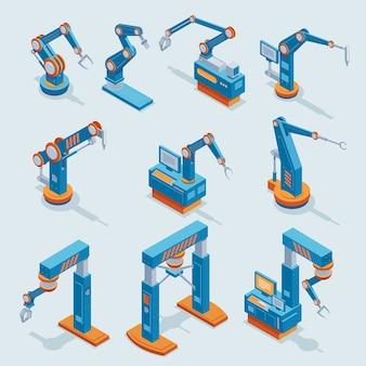 Isometrische industriële fabrieksautomatiseringselementen die met verschillende robotachtige geautomatiseerde geïsoleerde mechanische armen worden geplaatst