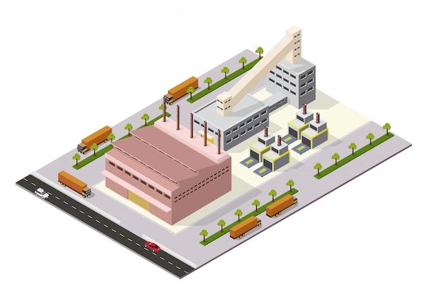 Isometrische industriële of fabrieksgebouwen
