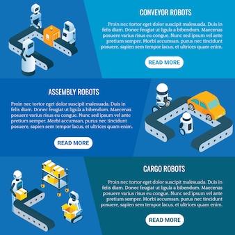 Isometrische industriële robots banner set
