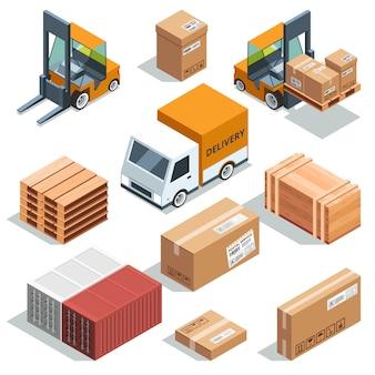 Isometrische industriemachine voor lading, vracht en verschillende dozen en pallets.