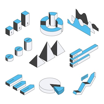 Isometrische infographic element collectie