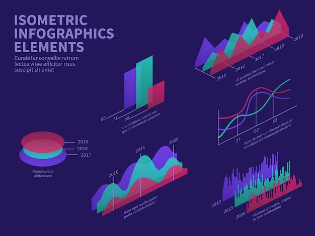 Isometrische infographic elementen. 3d-grafieken, staafdiagram, markthistogram en laagdiagram.