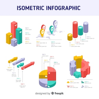 Isometrische infographic elementen sjabloon