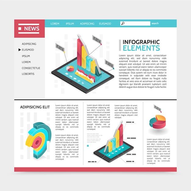 Isometrische infographic elementen website concept met navigatie menu tekst kleurrijke 3d diagrammen grafieken