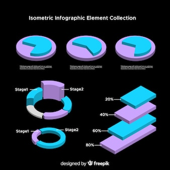 Isometrische infographic elementeninzameling