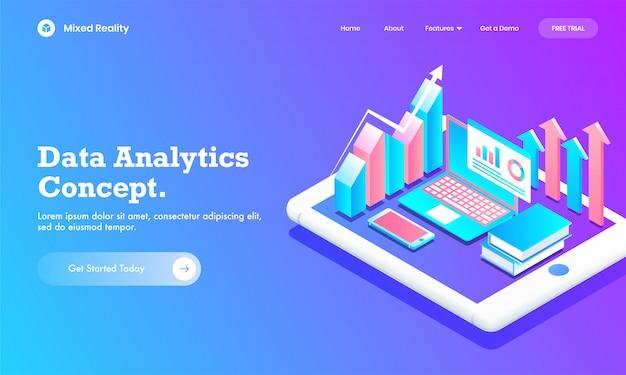 Isometrische infographic grafiekgrafiek met laptop, boek en mobiel op tabletscherm voor data analytics-conceptwebsite of bestemmingspaginaontwerp.