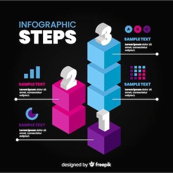 Isometrische infographic met stappen
