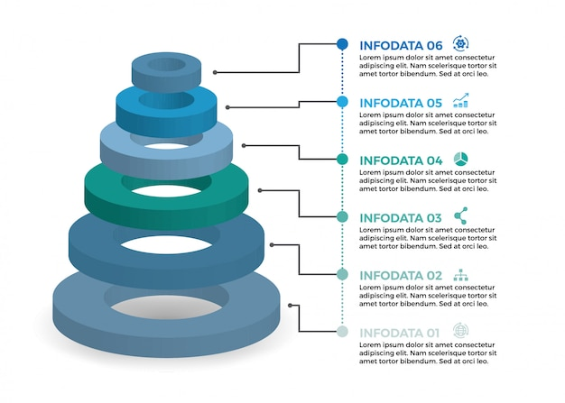 Isometrische infographic-ontwerp met 6 opties leves of stappen