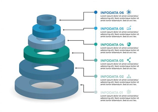 Isometrische infographic-ontwerp met 6 opties leves of stappen.