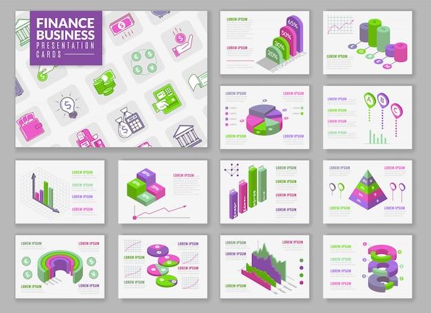 Isometrische infographic presentatiekaarten. presentatiekaarten instellen met isometrische geïsoleerde elementen voor het bouwen van infographics. presentatiegrafieken en grafieken over financieel thema