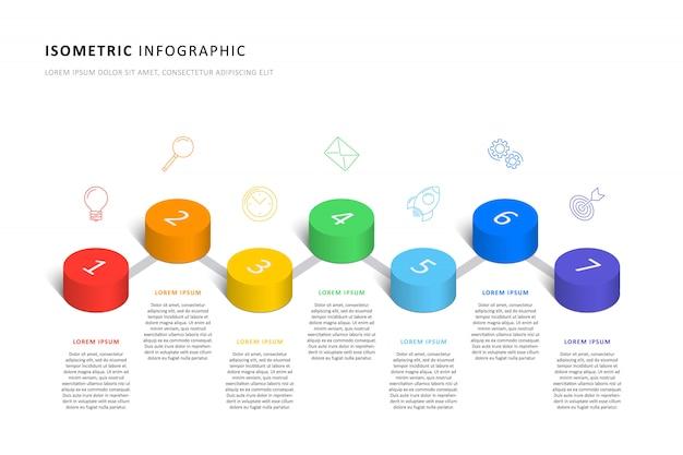 Isometrische infographic tijdlijnsjabloon met realistische 3d cilindrische elementen en marketing pictogrammen