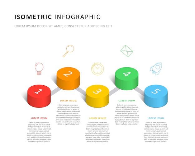 Isometrische infographic tijdlijnsjabloon met realistische 3d cilindrische elementen en marketingelementen. modern bedrijfsprocesdiagram