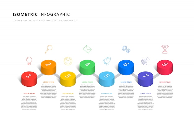 Isometrische infographic tijdlijnsjabloon met realistische 3d cilindrische elementen