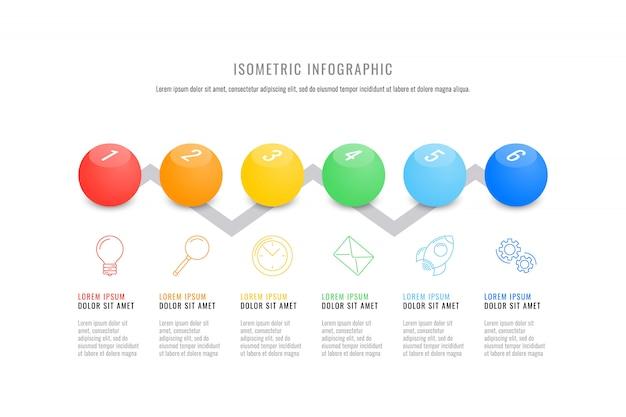 Isometrische infographic tijdlijnsjabloon met realistische 3d ronde elementen.