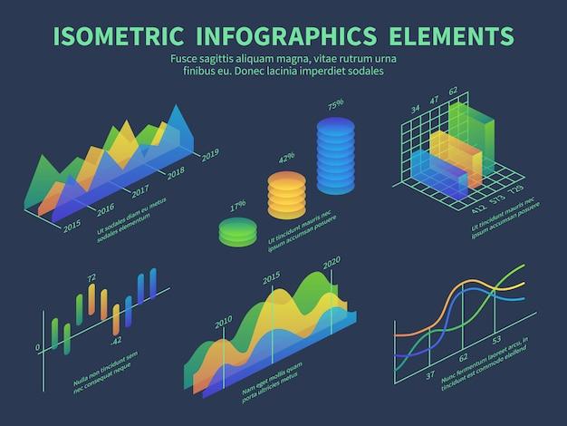 Isometrische infographics. presentatiegrafieken, statistische gegevenslaaggrafieken en marketingstaafdiagrammen.