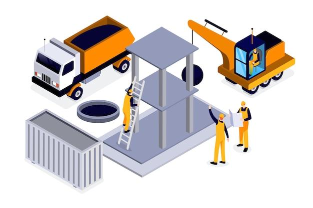 Isometrische ingenieurs die aan de bouw werken