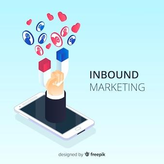 Isometrische inkomende marketing achtergrond
