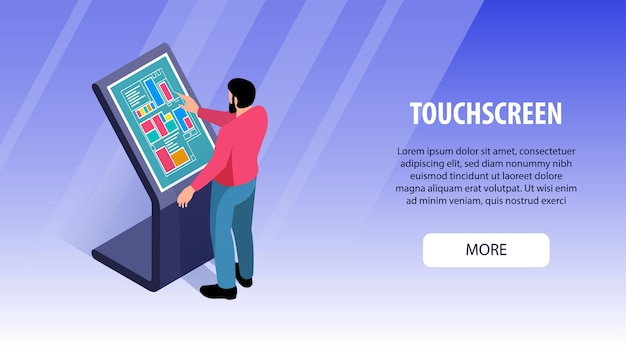 Isometrische interactieve gebruikers touchscreen horizontale banner afbeelding