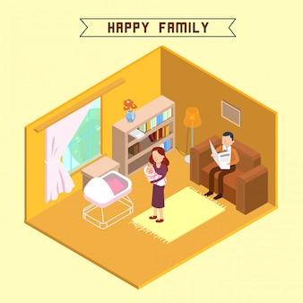 Isometrische interieur en gelukkige familie