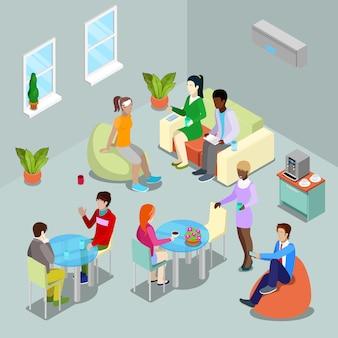 Isometrische interieur kantine en relaxruimte met mensen.