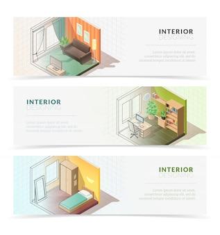 Isometrische interieur meubels banners. set van drie horizontale banners met isometrische residentiële interieur kamers op witte achtergrond met het mengen van schaduwen