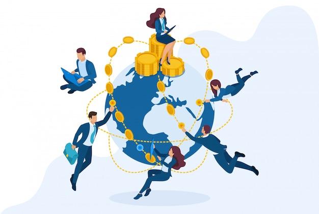 Isometrische internationale investeringsmaatschappij, zakenlieden vliegen de wereld rond.