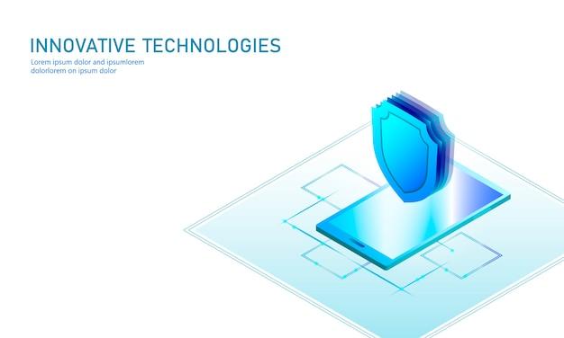 Isometrische internet beveiliging schild bedrijfsconcept. blauwe gloeiende isometrische persoonlijke gegevensgegevens verbinding pc smartphone toekomstige technologie. 3d infographic illustratie