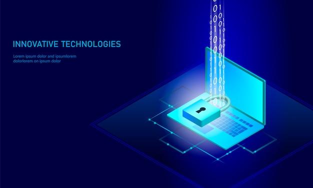 Isometrische internet beveiligingsslot bedrijfsconcept.