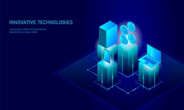 Isometrische internet cryptocurrency munt bedrijfsconcept, blauwe gloeiende isometrische bitcoin ethereum rimpel gcc