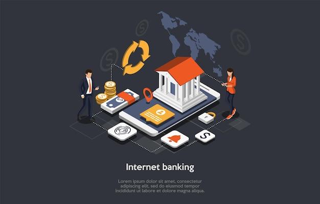 Isometrische internetbankieren concept. mensen gebruiken de applicatie voor mobiel bankieren. online betalingstransactie. zakelijke karakters maken online geld over, doen betalingen. cartoon vectorillustratie.