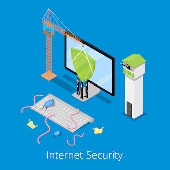 Isometrische internetbeveiliging en gegevensbescherming concept met verdedigde computer